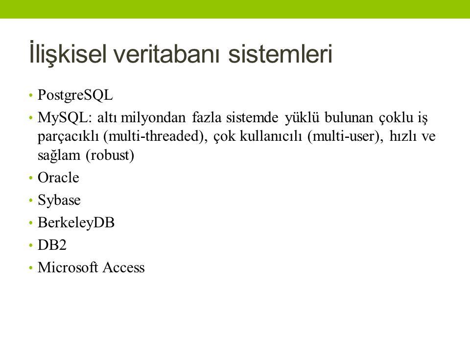 İlişkisel veritabanı sistemleri PostgreSQL MySQL: altı milyondan fazla sistemde yüklü bulunan çoklu iş parçacıklı (multi-threaded), çok kullanıcılı (multi-user), hızlı ve sağlam (robust) Oracle Sybase BerkeleyDB DB2 Microsoft Access