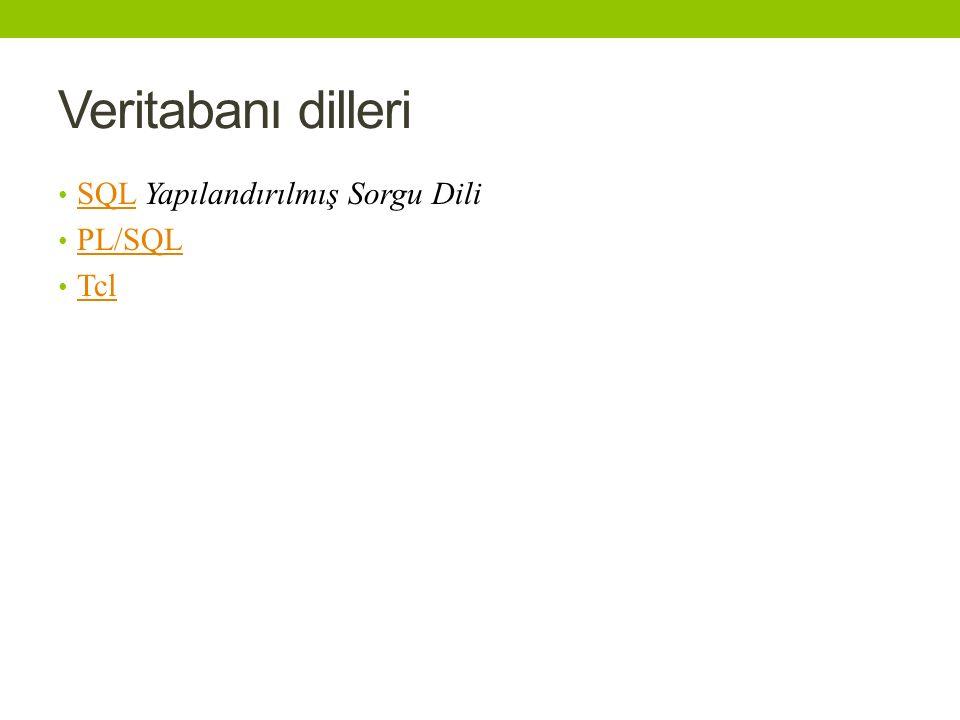 Veritabanı dilleri SQL Yapılandırılmış Sorgu Dili SQL PL/SQL Tcl