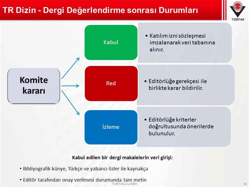 TÜBİTAK TÜBİTAK-ULAKBİM 10 TR Dizin - Dergi Değerlendirme sonrası Durumları Kabul edilen bir dergi makalelerin veri girişi: Bibliyografik künye, Türkç