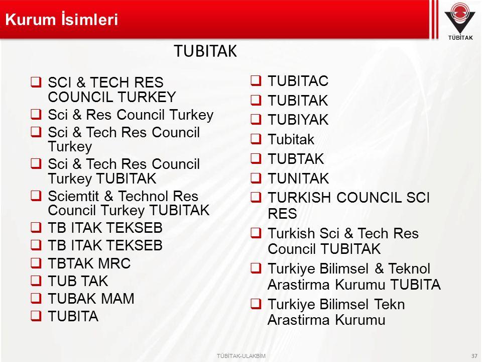 TÜBİTAK TÜBİTAK-ULAKBİM 37  SCI & TECH RES COUNCIL TURKEY  Sci & Res Council Turkey  Sci & Tech Res Council Turkey  Sci & Tech Res Council Turkey