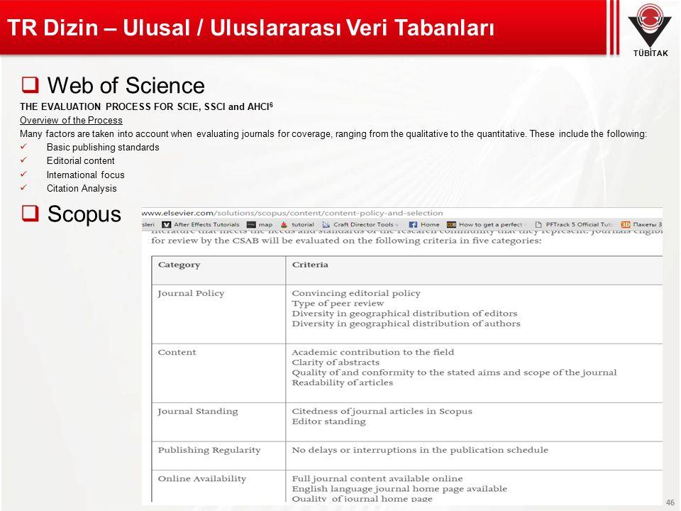 TÜBİTAK TÜBİTAK-ULAKBİM 46 TR Dizin – Ulusal / Uluslararası Veri Tabanları  Web of Science THE EVALUATION PROCESS FOR SCIE, SSCI and AHCI 6 Overview