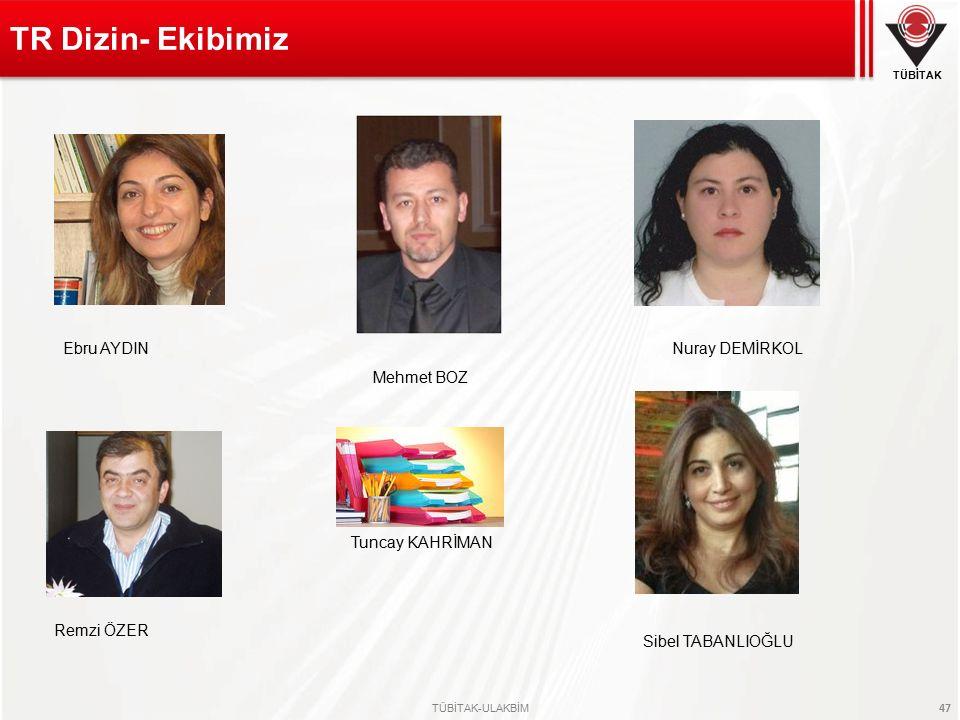 TÜBİTAK TÜBİTAK-ULAKBİM 47 TR Dizin- Ekibimiz Nuray DEMİRKOL Ebru AYDIN Sibel TABANLIOĞLU Mehmet BOZ Tuncay KAHRİMAN Remzi ÖZER