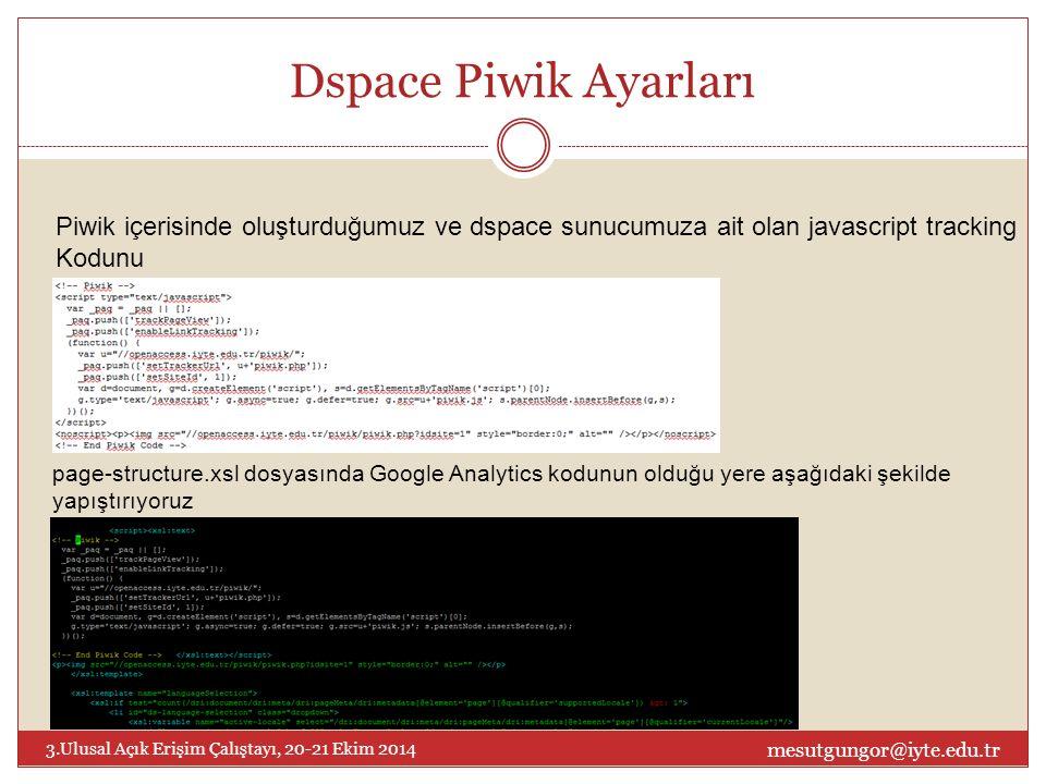 Dspace Piwik Ayarları mesutgungor@iyte.edu.tr 3.Ulusal Açık Erişim Çalıştayı, 20-21 Ekim 2014 Piwik içerisinde oluşturduğumuz ve dspace sunucumuza ait olan javascript tracking Kodunu page-structure.xsl dosyasında Google Analytics kodunun olduğu yere aşağıdaki şekilde yapıştırıyoruz