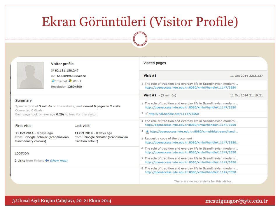Ekran Görüntüleri (Visitor Profile) mesutgungor@iyte.edu.tr 3.Ulusal Açık Erişim Çalıştayı, 20-21 Ekim 2014