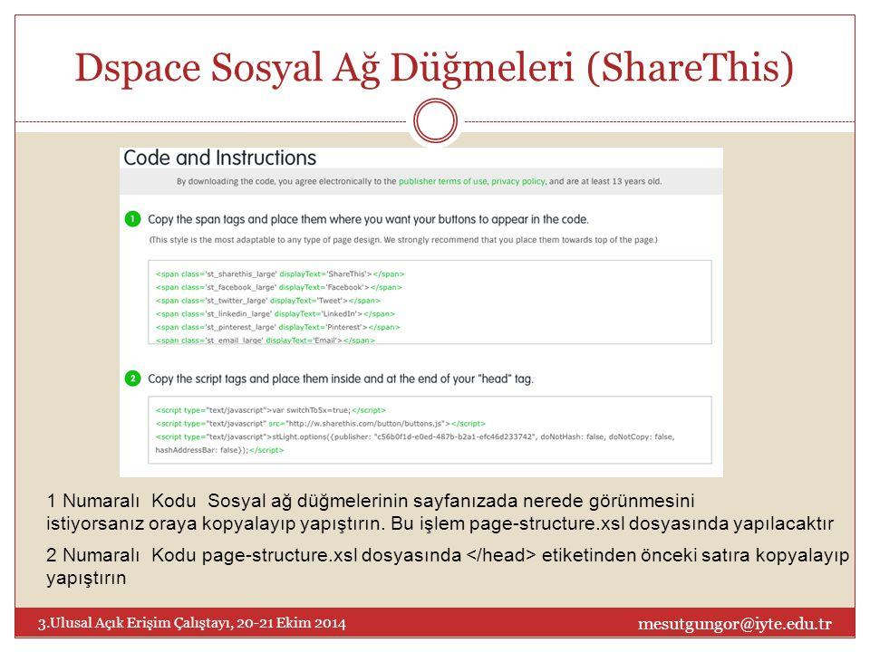 Dspace Sosyal Ağ Düğmeleri (ShareThis) mesutgungor@iyte.edu.tr 3.Ulusal Açık Erişim Çalıştayı, 20-21 Ekim 2014 1 Numaralı Kodu Sosyal ağ düğmelerinin sayfanızada nerede görünmesini istiyorsanız oraya kopyalayıp yapıştırın.