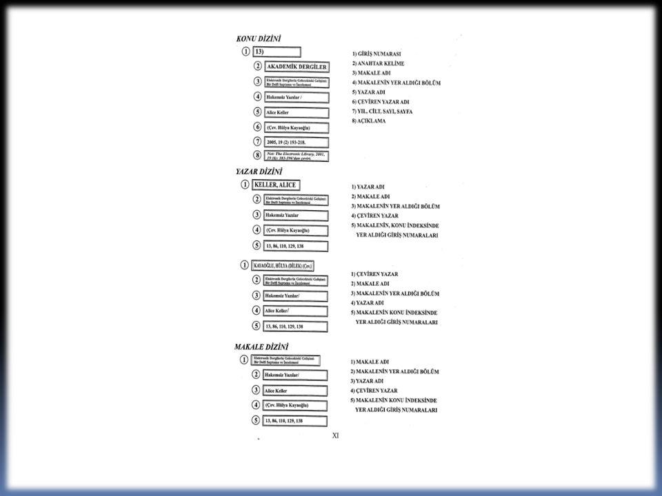 c) Bibliyografik kimlikler, dizinler içinde giriş unsuruna göre alfabetik verilmiştir.