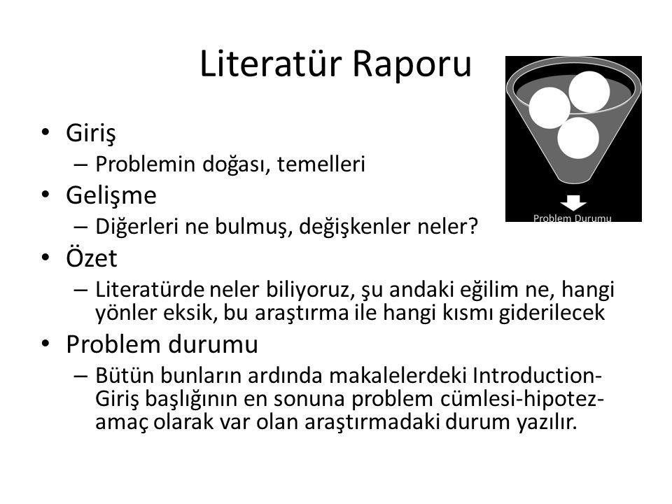 Literatür Raporu Giriş – Problemin doğası, temelleri Gelişme – Diğerleri ne bulmuş, değişkenler neler? Özet – Literatürde neler biliyoruz, şu andaki e