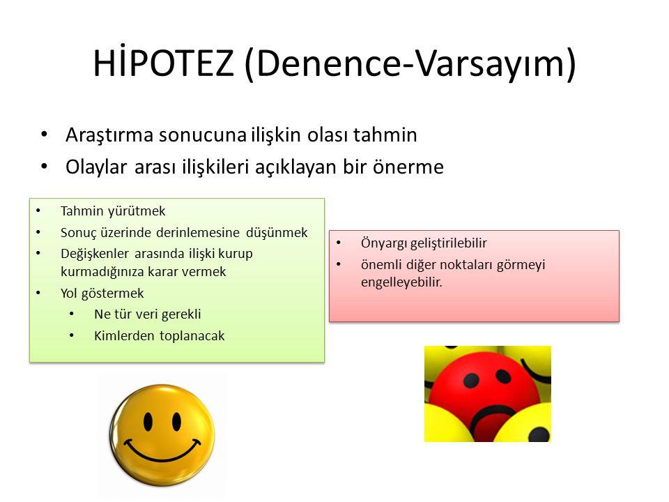 HİPOTEZ (Denence-Varsayım) Araştırma sonucuna ilişkin olası tahmin Olaylar arası ilişkileri açıklayan bir önerme Önyargı geliştirilebilir önemli diğer