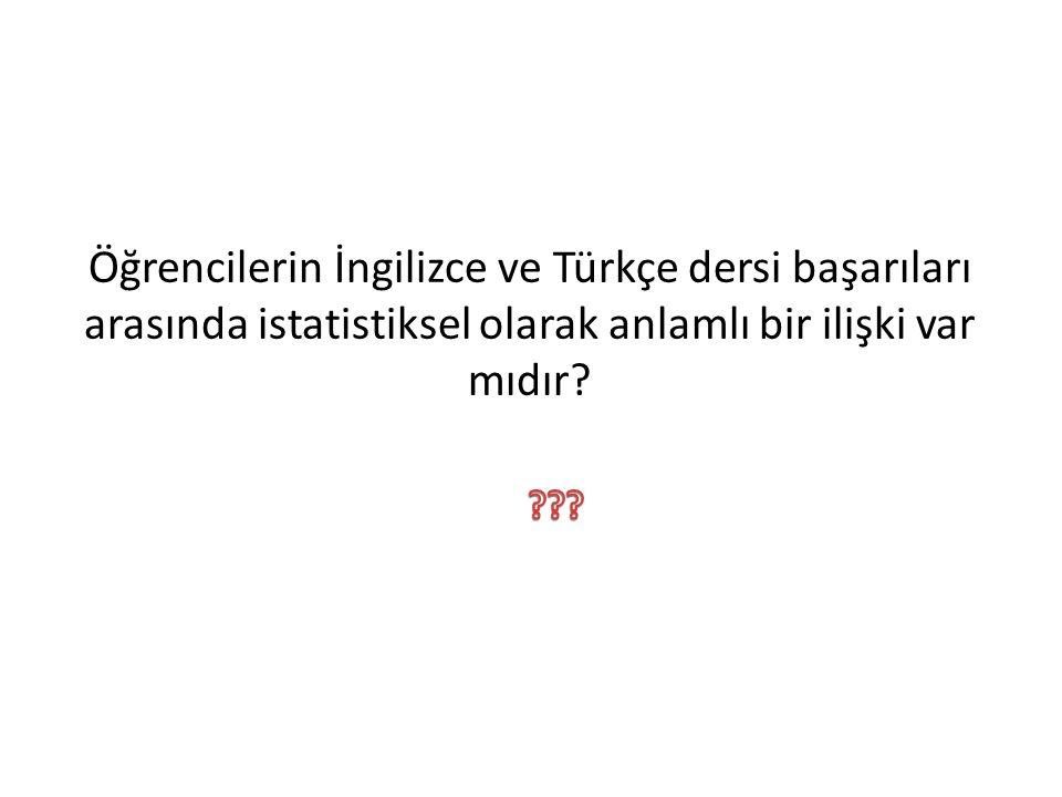 Öğrencilerin İngilizce ve Türkçe dersi başarıları arasında istatistiksel olarak anlamlı bir ilişki var mıdır?