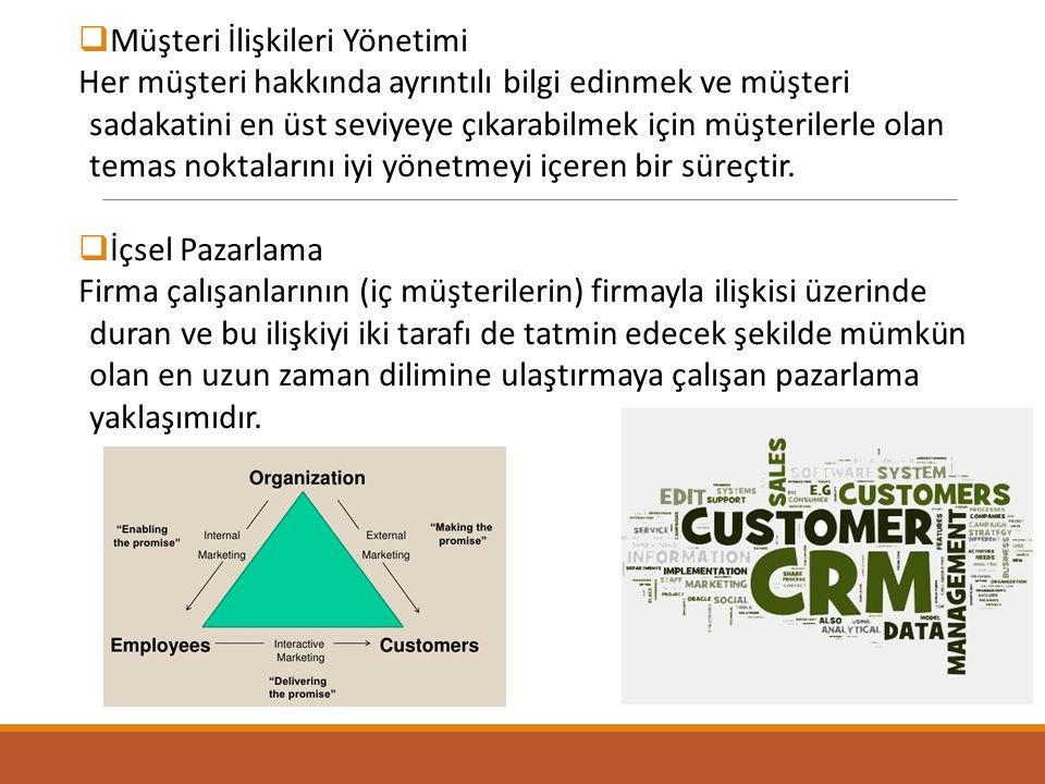  Müşteri İlişkileri Yönetimi Her müşteri hakkında ayrıntılı bilgi edinmek ve müşteri sadakatini en üst seviyeye çıkarabilmek için müşterilerle olan t