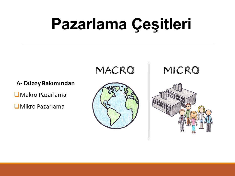 Pazarlama Çeşitleri A- Düzey Bakımından  Makro Pazarlama  Mikro Pazarlama