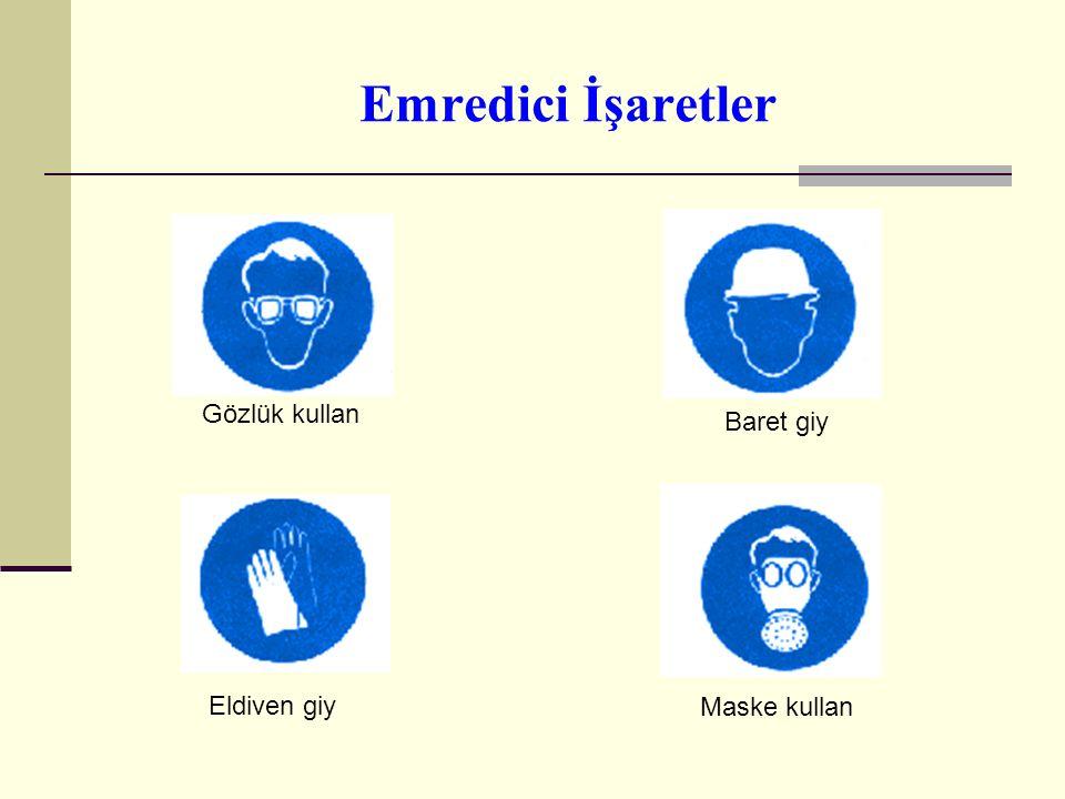 Emredici İşaretler Emredici işaretler  Daire biçiminde,  Mavi zemin üzerine beyaz piktogram olmalıdır.