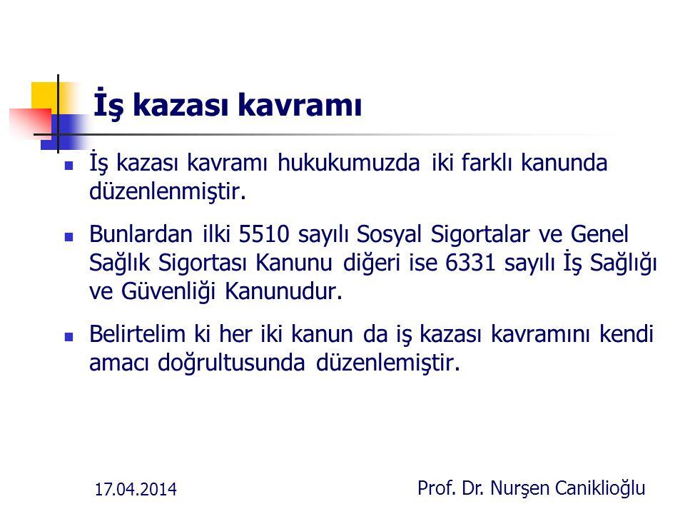 17.04.2014 Prof. Dr. Nurşen Caniklioğlu İŞVERENİN İŞ KAZASINDAN DOĞAN HUKUKİ SORUMLULUĞU