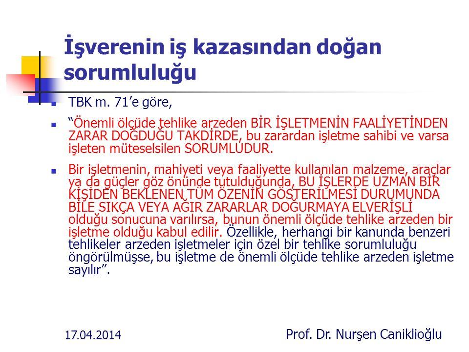 17.04.2014 Prof. Dr. Nurşen Caniklioğlu İşverenin iş kazasından doğan sorumluluğu TBK m.