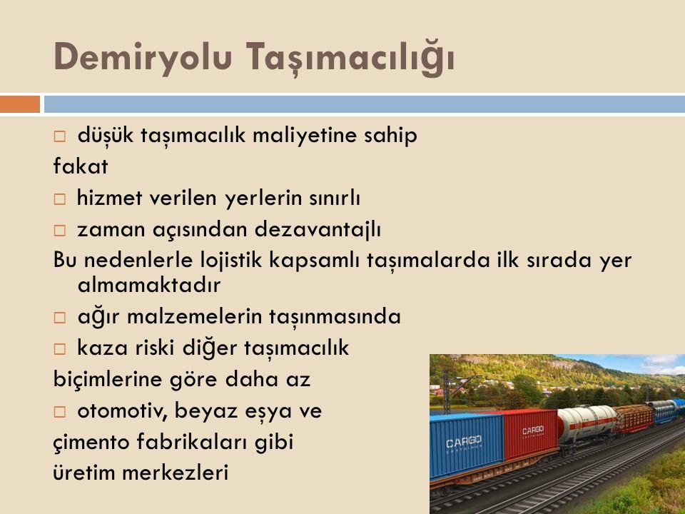 Demiryolu Taşımacılı ğ ı  düşük taşımacılık maliyetine sahip fakat  hizmet verilen yerlerin sınırlı  zaman açısından dezavantajlı Bu nedenlerle loj