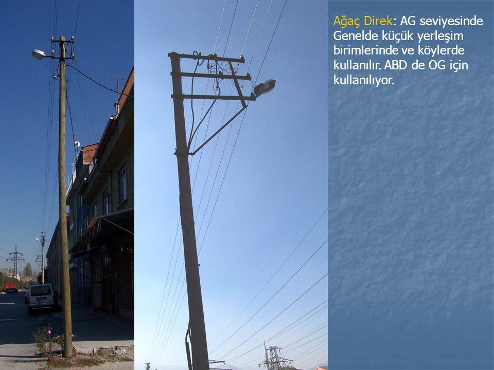Ağaç Direk: AG seviyesinde Genelde küçük yerleşim birimlerinde ve köylerde kullanılır. ABD de OG için kullanılıyor.