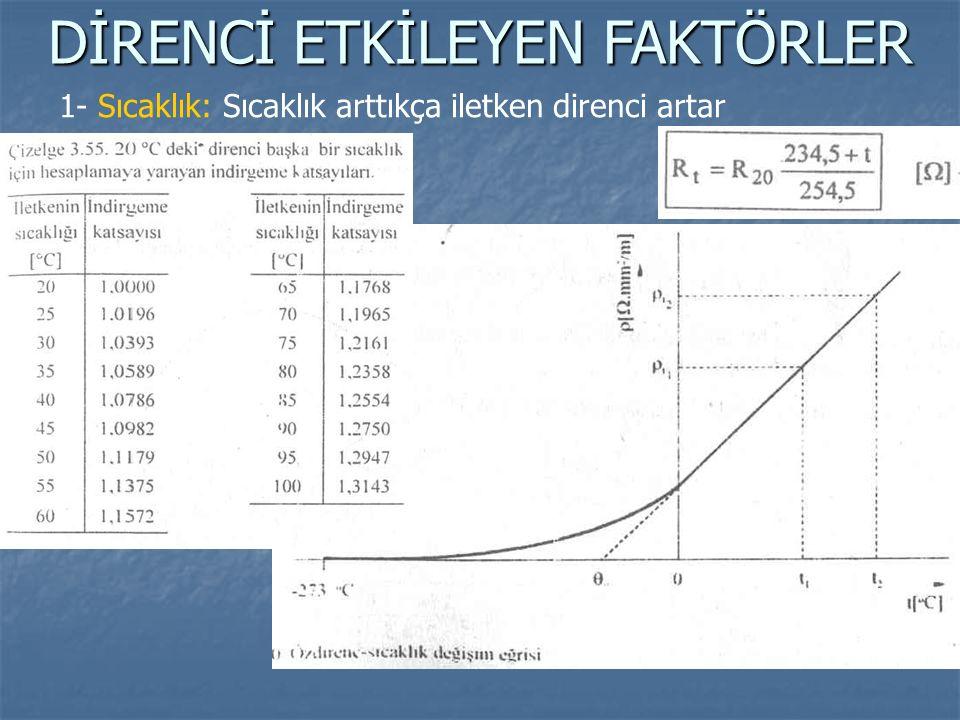 DİRENCİ ETKİLEYEN FAKTÖRLER 1- Sıcaklık: Sıcaklık arttıkça iletken direnci artar