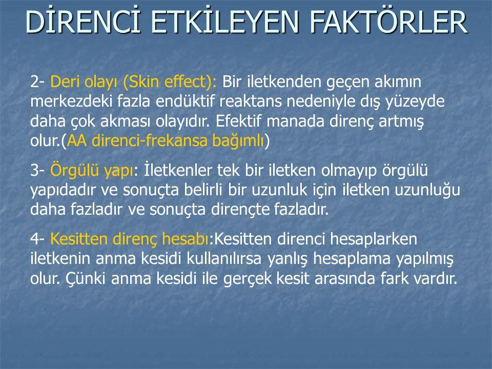 2- Deri olayı (Skin effect): Bir iletkenden geçen akımın merkezdeki fazla endüktif reaktans nedeniyle dış yüzeyde daha çok akması olayıdır. Efektif ma