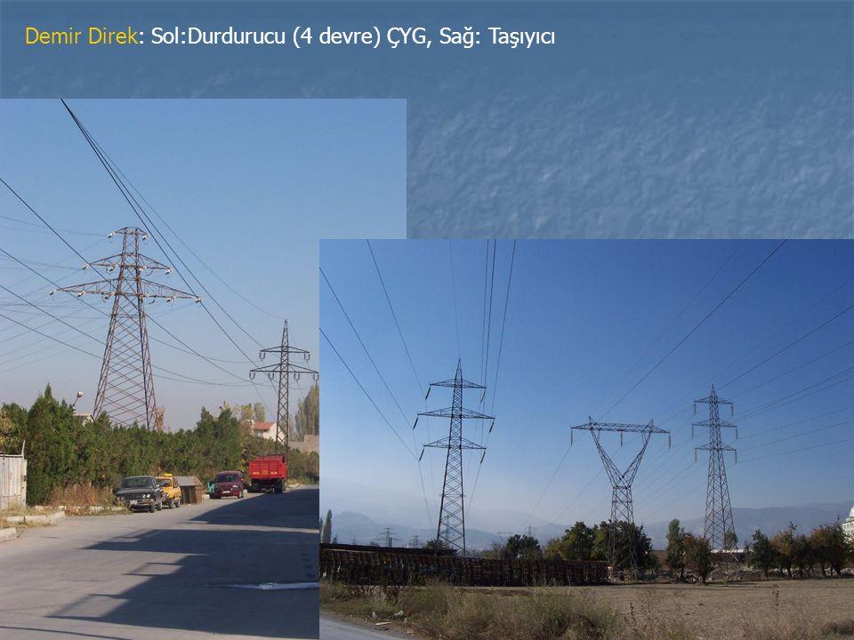 Demir Direk: Sol:Durdurucu (4 devre) ÇYG, Sağ: Taşıyıcı