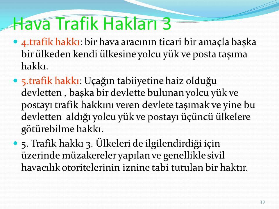 Hava Trafik Hakları 3 4.trafik hakkı: bir hava aracının ticari bir amaçla başka bir ülkeden kendi ülkesine yolcu yük ve posta taşıma hakkı.
