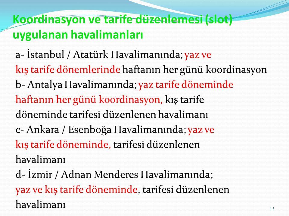 Koordinasyon ve tarife düzenlemesi (slot) uygulanan havalimanları a- İstanbul / Atatürk Havalimanında; yaz ve kış tarife dönemlerinde haftanın her günü koordinasyon b- Antalya Havalimanında; yaz tarife döneminde haftanın her günü koordinasyon, kış tarife döneminde tarifesi düzenlenen havalimanı c- Ankara / Esenboğa Havalimanında; yaz ve kış tarife döneminde, tarifesi düzenlenen havalimanı d- İzmir / Adnan Menderes Havalimanında; yaz ve kış tarife döneminde, tarifesi düzenlenen havalimanı 13