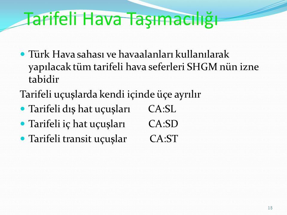 Tarifeli Hava Taşımacılığı Türk Hava sahası ve havaalanları kullanılarak yapılacak tüm tarifeli hava seferleri SHGM nün izne tabidir Tarifeli uçuşlarda kendi içinde üçe ayrılır Tarifeli dış hat uçuşları CA:SL Tarifeli iç hat uçuşları CA:SD Tarifeli transit uçuşlar CA:ST 18