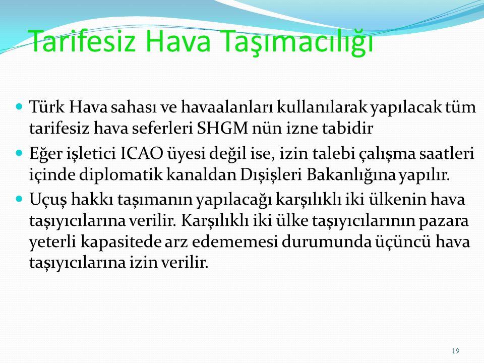 Tarifesiz Hava Taşımacılığı Türk Hava sahası ve havaalanları kullanılarak yapılacak tüm tarifesiz hava seferleri SHGM nün izne tabidir Eğer işletici ICAO üyesi değil ise, izin talebi çalışma saatleri içinde diplomatik kanaldan Dışişleri Bakanlığına yapılır.