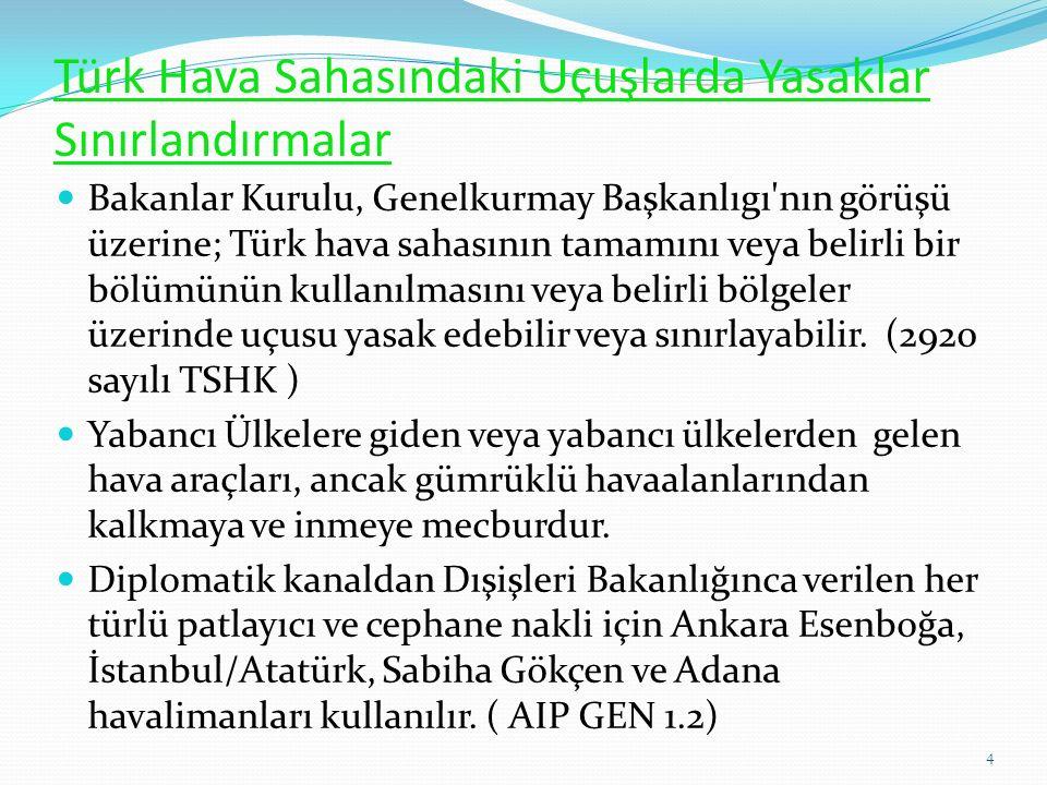 Türk Hava Sahasındaki Uçuşlarda Yasaklar Sınırlandırmalar Bakanlar Kurulu, Genelkurmay Başkanlıgı nın görüşü üzerine; Türk hava sahasının tamamını veya belirli bir bölümünün kullanılmasını veya belirli bölgeler üzerinde uçusu yasak edebilir veya sınırlayabilir.