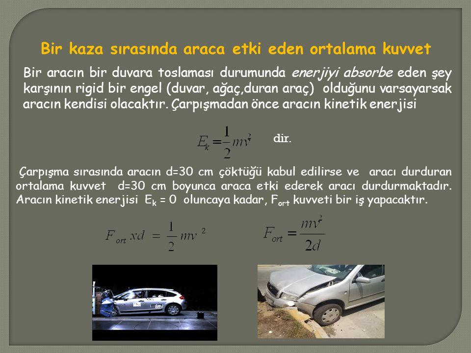 Örnek :1280 N ağırlığında bir araç, 60 km/h hızla giderken bir duvara toslamakta ve araç 30 cm çökmektedir.