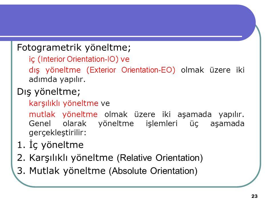 Fotogrametrik yöneltme; iç ( Interior Orientation-IO ) ve dış yöneltme ( Exterior Orientation-EO ) olmak üzere iki adımda yapılır.