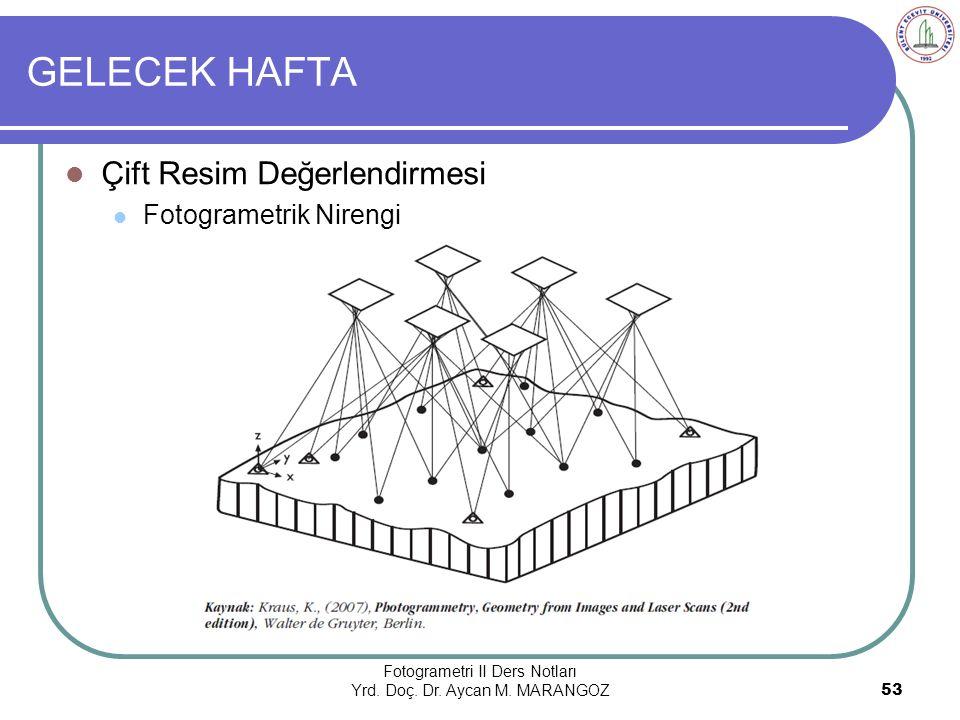 GELECEK HAFTA Fotogrametri II Ders Notları Yrd.Doç.