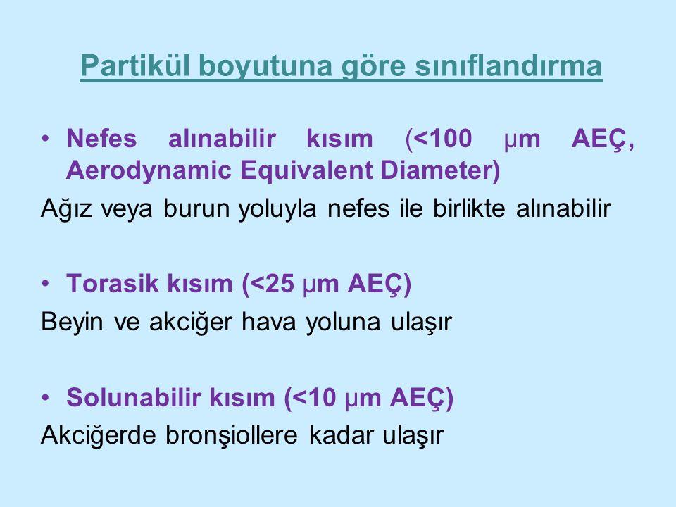 Partikül boyutuna göre sınıflandırma Nefes alınabilir kısım (<100 μm AEÇ, Aerodynamic Equivalent Diameter) Ağız veya burun yoluyla nefes ile birlikte