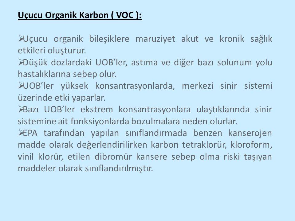 Uçucu Organik Karbon ( VOC ):  Uçucu organik bileşiklere maruziyet akut ve kronik sağlık etkileri oluşturur.  Düşük dozlardaki UOB'ler, astıma ve di
