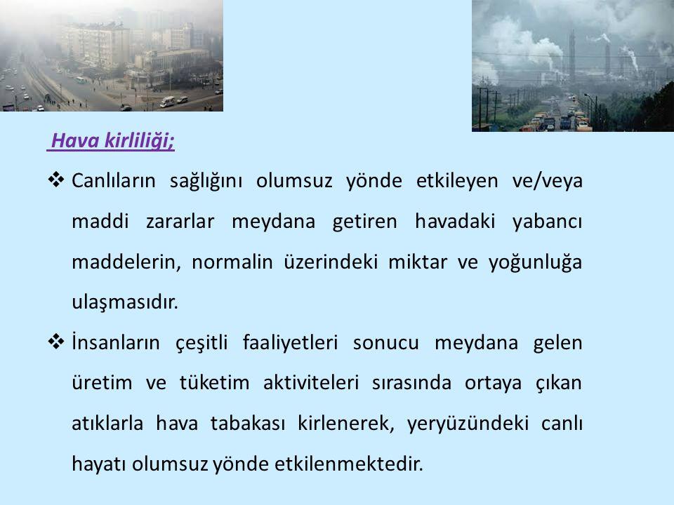 Hava kirliliği;  Canlıların sağlığını olumsuz yönde etkileyen ve/veya maddi zararlar meydana getiren havadaki yabancı maddelerin, normalin üzerindeki