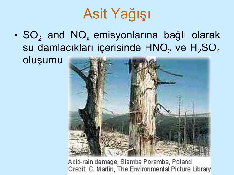 Asit Yağışı SO 2 and NO x emisyonlarına bağlı olarak su damlacıkları içerisinde HNO 3 ve H 2 SO 4 oluşumu
