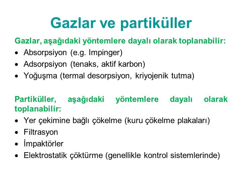 Gazlar ve partiküller Gazlar, aşağıdaki yöntemlere dayalı olarak toplanabilir:  Absorpsiyon (e.g.