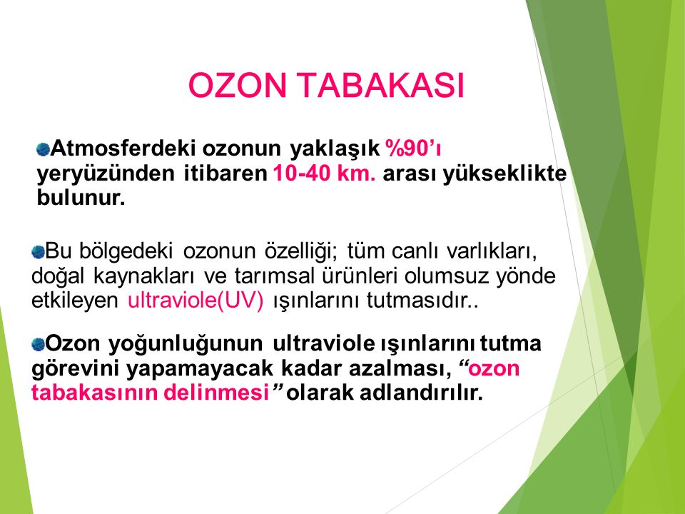 OZON TABAKASI Ozon yoğunluğunun ultraviole ışınlarını tutma görevini yapamayacak kadar azalması, ozon tabakasının delinmesi olarak adlandırılır.