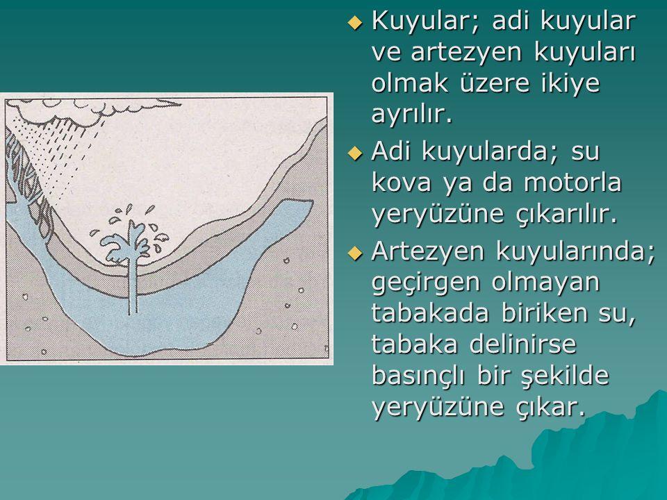 Kuyular; adi kuyular ve artezyen kuyuları olmak üzere ikiye ayrılır.  Adi kuyularda; su kova ya da motorla yeryüzüne çıkarılır.  Artezyen kuyuları