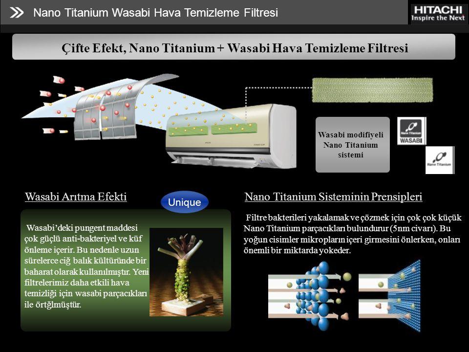 Nano Titanium Wasabi Hava Temizleme Filtresi Çifte Efekt, Nano Titanium + Wasabi Hava Temizleme Filtresi Wasabi modifiyeli Nano Titanium sistemi Wasabi Arıtma Efekti Wasabi'deki pungent maddesi çok güçlü anti-bakteriyel ve küf önleme içerir.