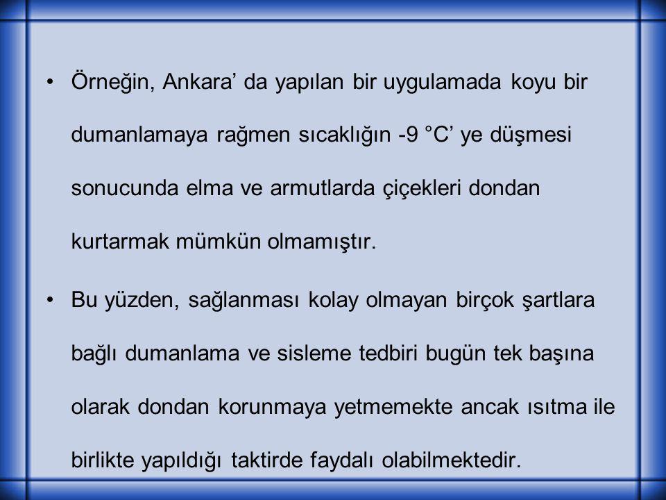 Örneğin, Ankara' da yapılan bir uygulamada koyu bir dumanlamaya rağmen sıcaklığın -9 °C' ye düşmesi sonucunda elma ve armutlarda çiçekleri dondan kurt