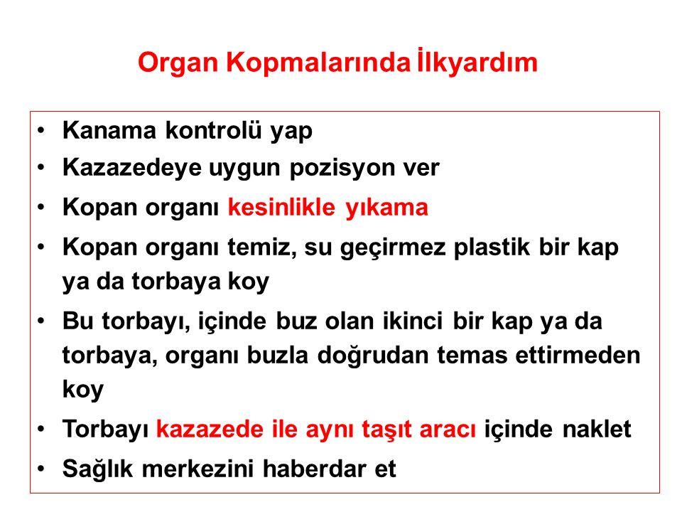 Organ Kopmalarında İlkyardım Kanama kontrolü yap Kazazedeye uygun pozisyon ver Kopan organı kesinlikle yıkama Kopan organı temiz, su geçirmez plastik