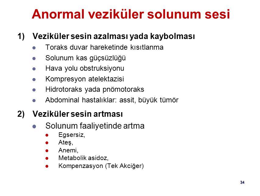 33 Anormal solunum sesleri Anormal veziküler solunum sesi Anormal bronşial solunum sesi Anormal bronkovesiküler solunum sesi