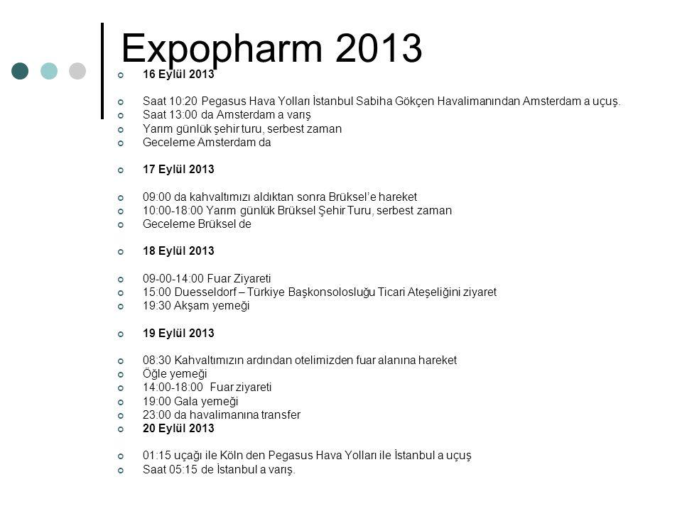 Expopharm 2013 16 Eylül 2013 Saat 10:20 Pegasus Hava Yolları İstanbul Sabiha Gökçen Havalimanından Amsterdam a uçuş.