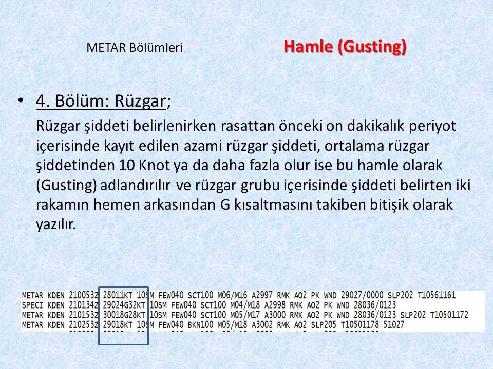 Hamle (Gusting) METAR Bölümleri Hamle (Gusting) 4. Bölüm: Rüzgar; Rüzgar şiddeti belirlenirken rasattan önceki on dakikalık periyot içerisinde kayıt e