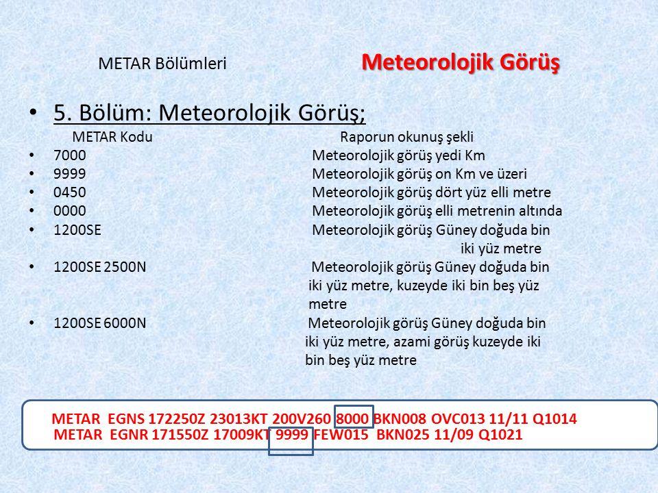 Meteorolojik Görüş METAR Bölümleri Meteorolojik Görüş 5. Bölüm: Meteorolojik Görüş; METAR Kodu Raporun okunuş şekli 7000 Meteorolojik görüş yedi Km 99