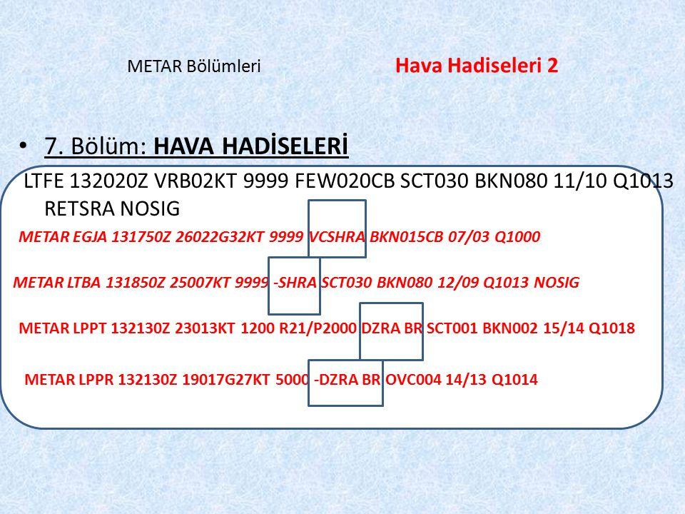 LPPT 132130Z 23013KT 1200 R21/P2000 DZRA BR SCT001 BKN002 15/14 Q1018 METAR Bölümleri Hava Hadiseleri 2 7. Bölüm: HAVA HADİSELERİ LTFE 132020Z VRB02KT
