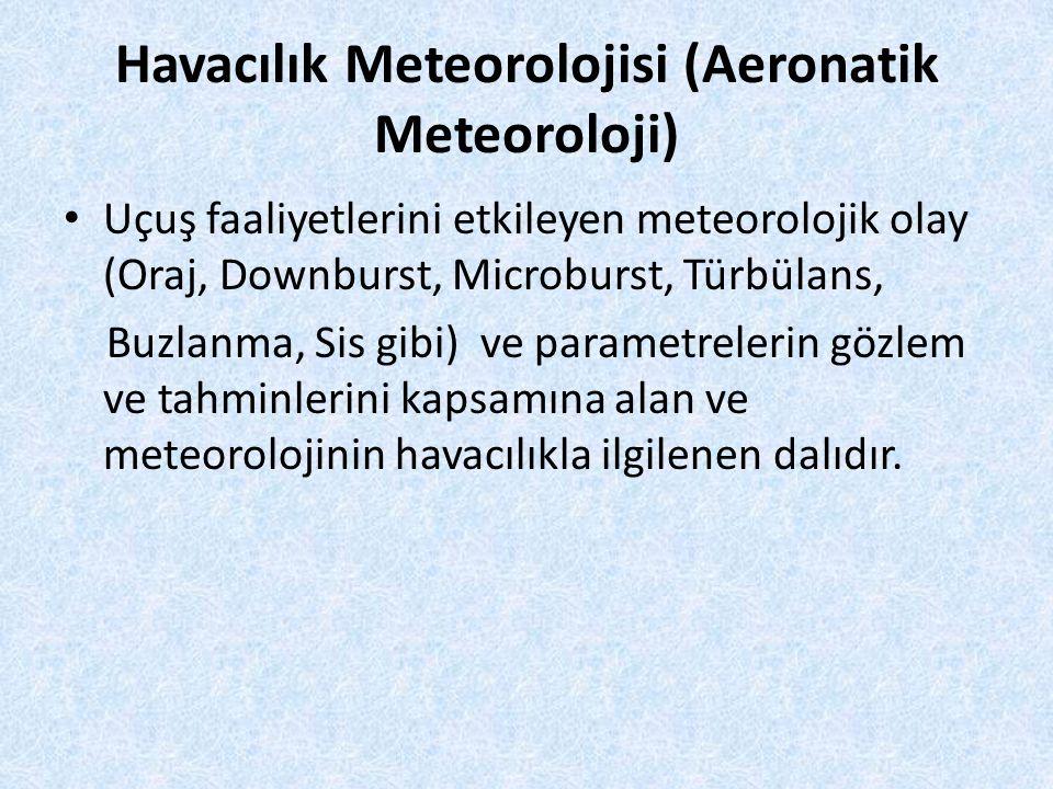 Havacılık Meteorolojisi (Aeronatik Meteoroloji) Uçuş faaliyetlerini etkileyen meteorolojik olay (Oraj, Downburst, Microburst, Türbülans, Buzlanma, Sis gibi) ve parametrelerin gözlem ve tahminlerini kapsamına alan ve meteorolojinin havacılıkla ilgilenen dalıdır.
