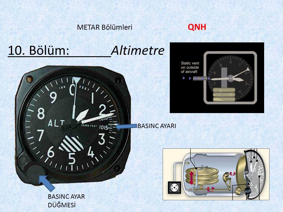 METAR Bölümleri QNH 10. Bölüm: Altimetre BASINC AYARI BASINC AYAR DÜĞMESİ