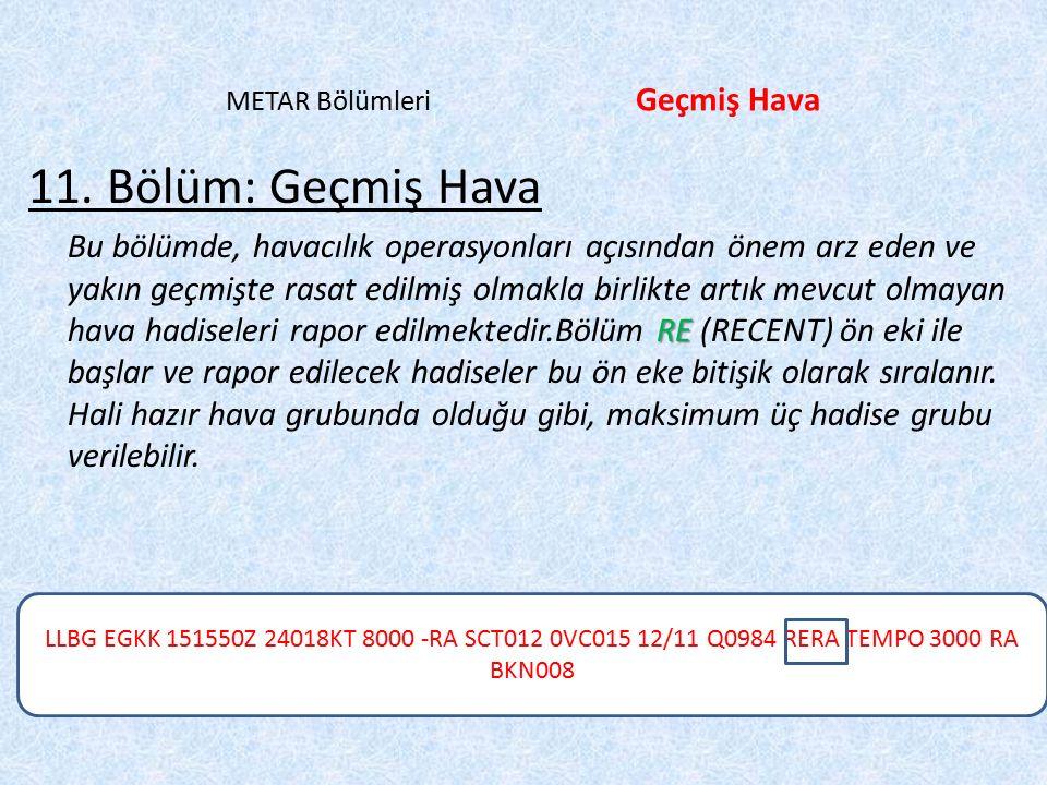 LLBG EGKK 151550Z 24018KT 8000 -RA SCT012 0VC015 12/11 Q0984 RERA TEMPO 3000 RA BKN008 METAR Bölümleri Geçmiş Hava 11.