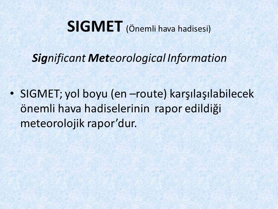 SIGMET (Önemli hava hadisesi) Significant Meteorological Information SIGMET; yol boyu (en –route) karşılaşılabilecek önemli hava hadiselerinin rapor edildiği meteorolojik rapor'dur.